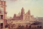 5MX M1 E1 1860Mexiko, Kathedrale / NebelCiudad de Mexico (Mexiko),Kathedrale(1573 1667 erbaut an der Stelle desaztekischen Haupttempels Teocalli).  Plaza de la Constitution mit Kathe drale und Sagrario Metropolitano.  Kreidelithographie, koloriert, um 1850,nach Carlos Nebel (1805 1855). Aus:Voyage Pittoresque au Mexico.E:Mexico, Cathedral / NebelCiudad de Mexico (Mexico),Cathedral(built 1573 1667 in place of the Aztectemple of Teocalli).  Plaza de la Constitution with cathe dral and Sagrario Metropolitano.  Chalk lithograph, coloured, c.1850,from Carlos Nebel (1805 1855). From:Voyage Pittoresque au Mexico.